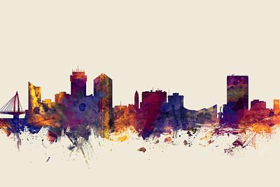 Watercolour Wall Art - Digital Art - Wichita Kansas Skyline by Michael Tompsett