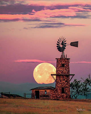 Photograph - Windmill At Moonset by Tim Kathka
