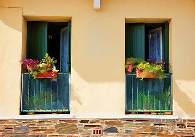 Photograph - 2 Windows Flowers Collioure France  by Chuck Kuhn