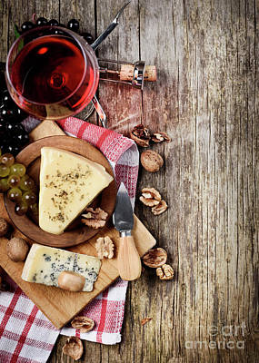 Pour Photograph - Wine And Cheese by Jelena Jovanovic