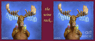 Red Wine Painting - Wine Rack... by Will Bullas