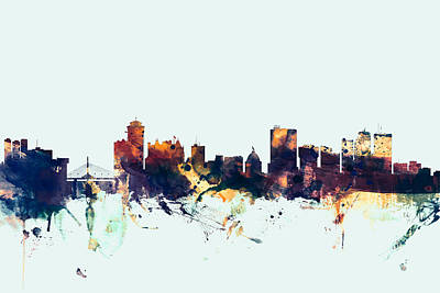Winnipeg Digital Art - Winnipeg Canada Skyline by Michael Tompsett