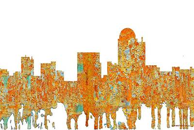 Digital Art - Winston-salem North Carolina Skyline by Marlene Watson