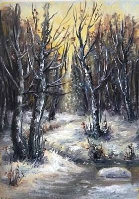 Outdoor Graphic Tees - Winter aceo original painting  by Natalja Picugina
