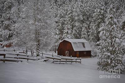 Photograph - Winter Barn by Idaho Scenic Images Linda Lantzy