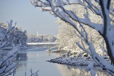 Digital Art - Winter Church And Reflection by Jim Brage