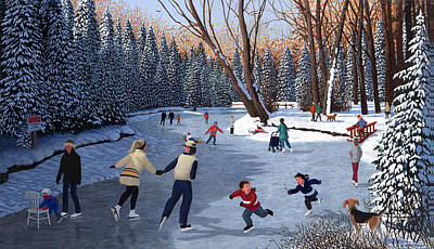 Skating Painting - Winter Fun At Bowness Park by Neil Woodward