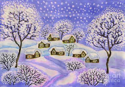 Painting - Winter Landscape In Purple Colours, Painting by Irina Afonskaya