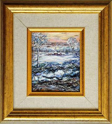 Wood-frame Houses Painting - Winter... by Maya Bukhina