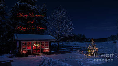 Photograph - Winter Night Greetings In English by Torbjorn Swenelius