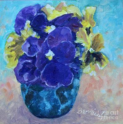 Painting - Winter Pansies by Jan Bennicoff