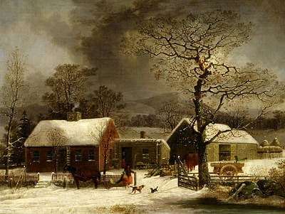 Connecticut Landscape Painting - Winter Scene In New Haven, Connecticut by George Henry Durrie