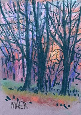 Sunset Drawing - Winter Sunset by Donald Maier