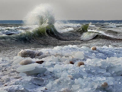 Photograph - Winter Waves At Whitefish Dunes by David T Wilkinson