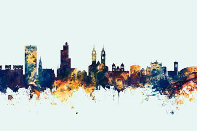 Switzerland Digital Art - Winterthur Switzerland Skyline by Michael Tompsett