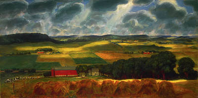 Painting - Wisconsin Landscape by John Steuart Curry