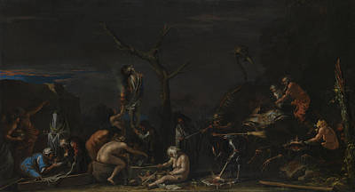 Occult Painting - Witches At Their Incantations by Salvator Rosa