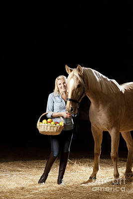 Horse Photograph - Woman And Horse With Apples by Wolfgang Steiner