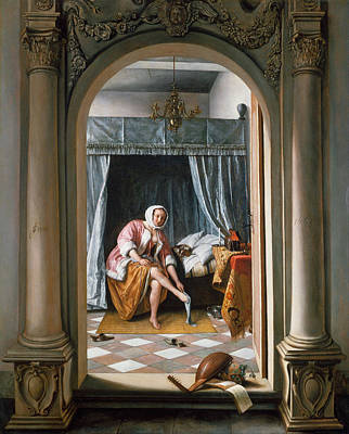 Dress Painting - Woman At Her Toilet by Jan Steen