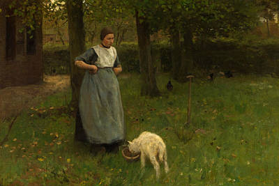 Mauve Painting - Woman From Laren With Lamb by Anton Mauve