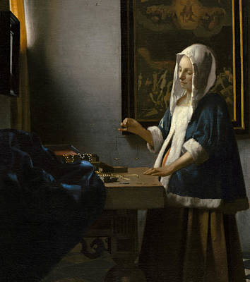 Woman Holding A Balance Art Print by Jan Vermeer