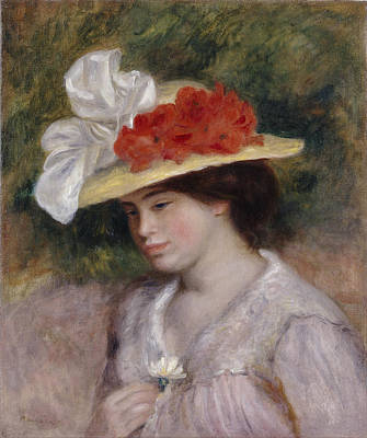 Painting - Woman In A Flowered Hat by Auguste Renoir