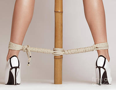 Woman Legs Tied With Ropes To Bamboo Art Print