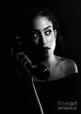 Femme Fatale Photograph - Woman On Telephone by Amanda Elwell