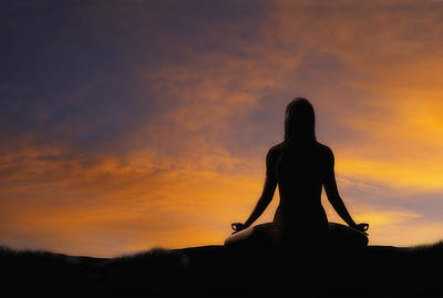 Sunrise Photograph - Woman Practicing Yoga by Utah Images