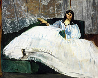 Lying Painting - Woman With A Fan by Edouard Manet