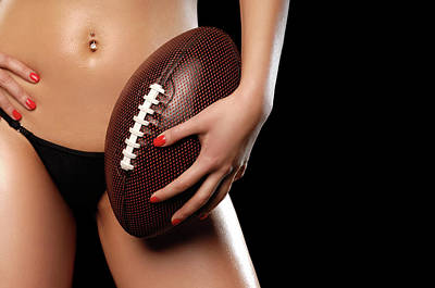 Belly Button Photograph - Woman With A Football by Oleksiy Maksymenko