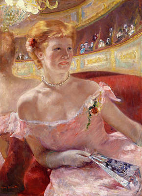 Theatre Painting - Woman With A Pearl Necklace In A Loge by Mary Cassatt