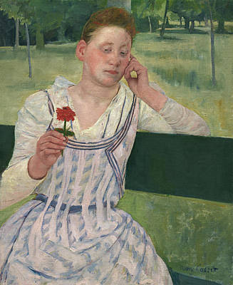 Painting - Woman With A Red Zinnia by Mary Cassatt