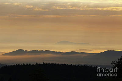 Photograph - Wooded Hills In The Morning Sun And Fog by Michal Boubin