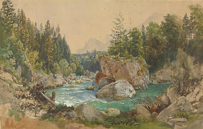Drawing - Wooded River Landscape In The Alps by Thomas Ender
