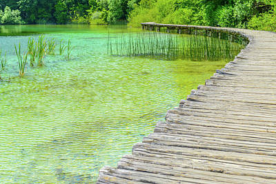 Photograph - Wooden Boardwalk  For Hiking Next To A Lake by Brandon Bourdages