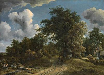 Meindert Hobbema Painting - Woodland Road by Meindert Hobbema
