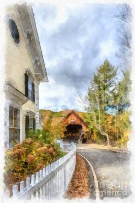 Covered Bridge Painting - Woodstock Vermont by Edward Fielding