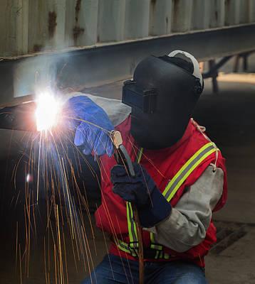 Metal Fabrication Photograph - Worker Work Hard With Welding Process  by Anek Suwannaphoom