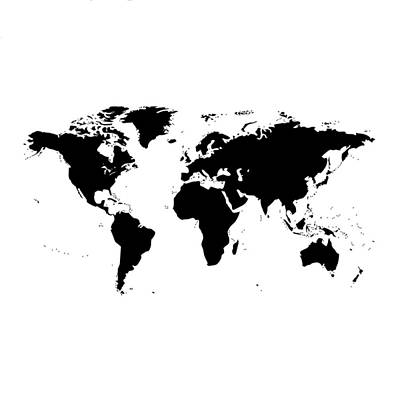 Digital Art - World Map - Black And White by Marianna Mills