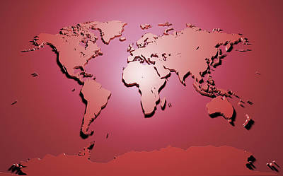 Panoramic Digital Art - World Map In Red by Michael Tompsett