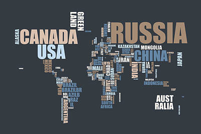 World Map In Words Art Print by Michael Tompsett