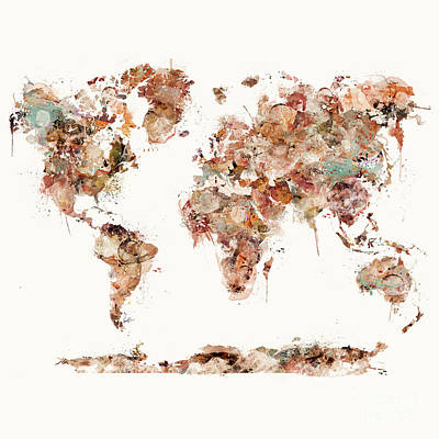 Print featuring the painting World Map Watercolor by Bri B