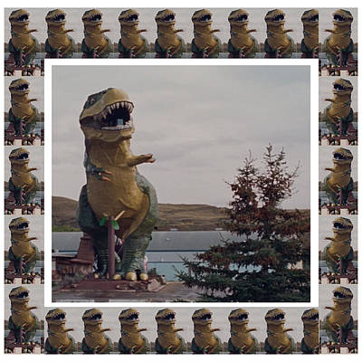 Mixed Media - Worlds Largest Dinosaur Tyrannosaurus Rex Statue Drumheller Alberta Canada by Navin Joshi