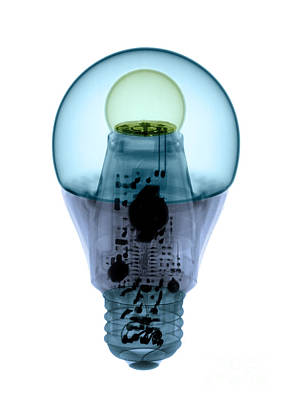Energy Efficient Photograph - X-ray Of An Energy Efficient Light by Ted Kinsman