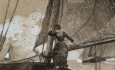 Sailing Drawing - Yachting Girl by Winslow Homer