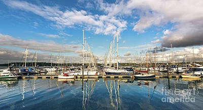Urban Scenes Mixed Media - Yachts by Svetlana Sewell