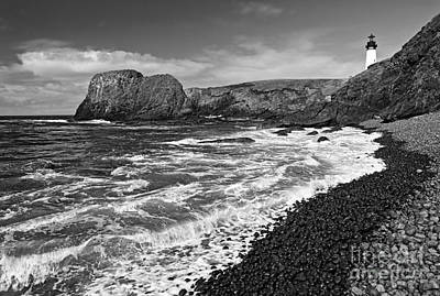 Yaquina Bay Photograph - Yaquina Lighthouse On Top Of Rocky Beach by Jamie Pham