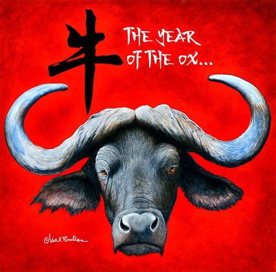 Cape Buffalo Painting - Year Of The Ox... by Will Bullas