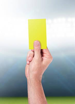 Turf Digital Art - Yellow Card On Stadium Background by Allan Swart